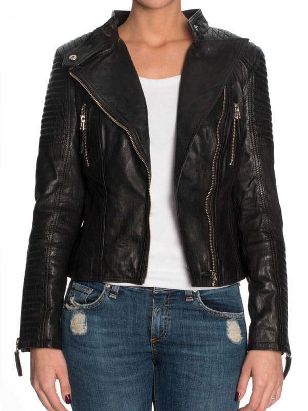Womens Cafe Racer Short Leather Motorcycle Jacket Black 02
