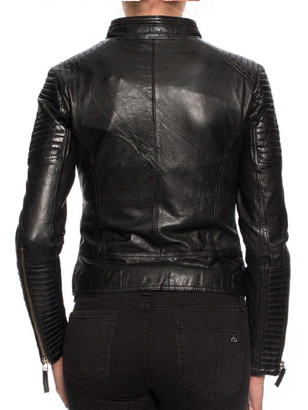 Womens Cafe Racer Short Leather Motorcycle Jacket Black 03