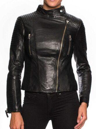 Womens Cafe Racer Short Body Leather Jacket Black