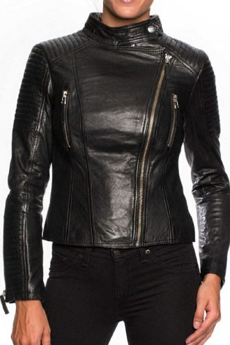 Womens Short Body Cafe Racer Leather Jacket