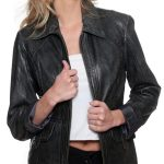 Womens Fashion Designer Leather Coat Black