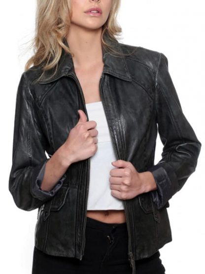 Womens Fashion Designer Leather Coat Black
