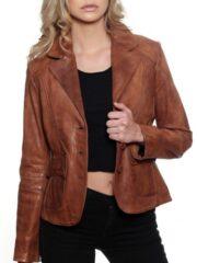 Womens Fashion Designer Leather Coat Tan Brown