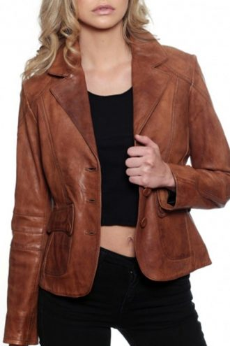 Womens Fashion Designer Leather Coat Tan Brown