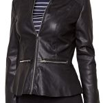 Womens Fashion Designer Leather Jacket Black 01