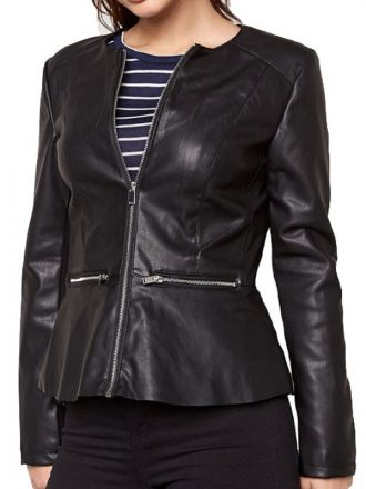 Womens Fashion Designer Leather Jacket Black 01