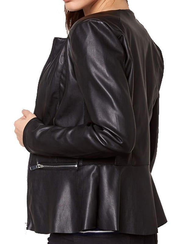 Womens Fashion Designer Leather Jacket Black 03