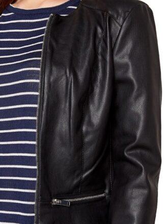 Womens Fashion Designer Leather Jacket Black 04