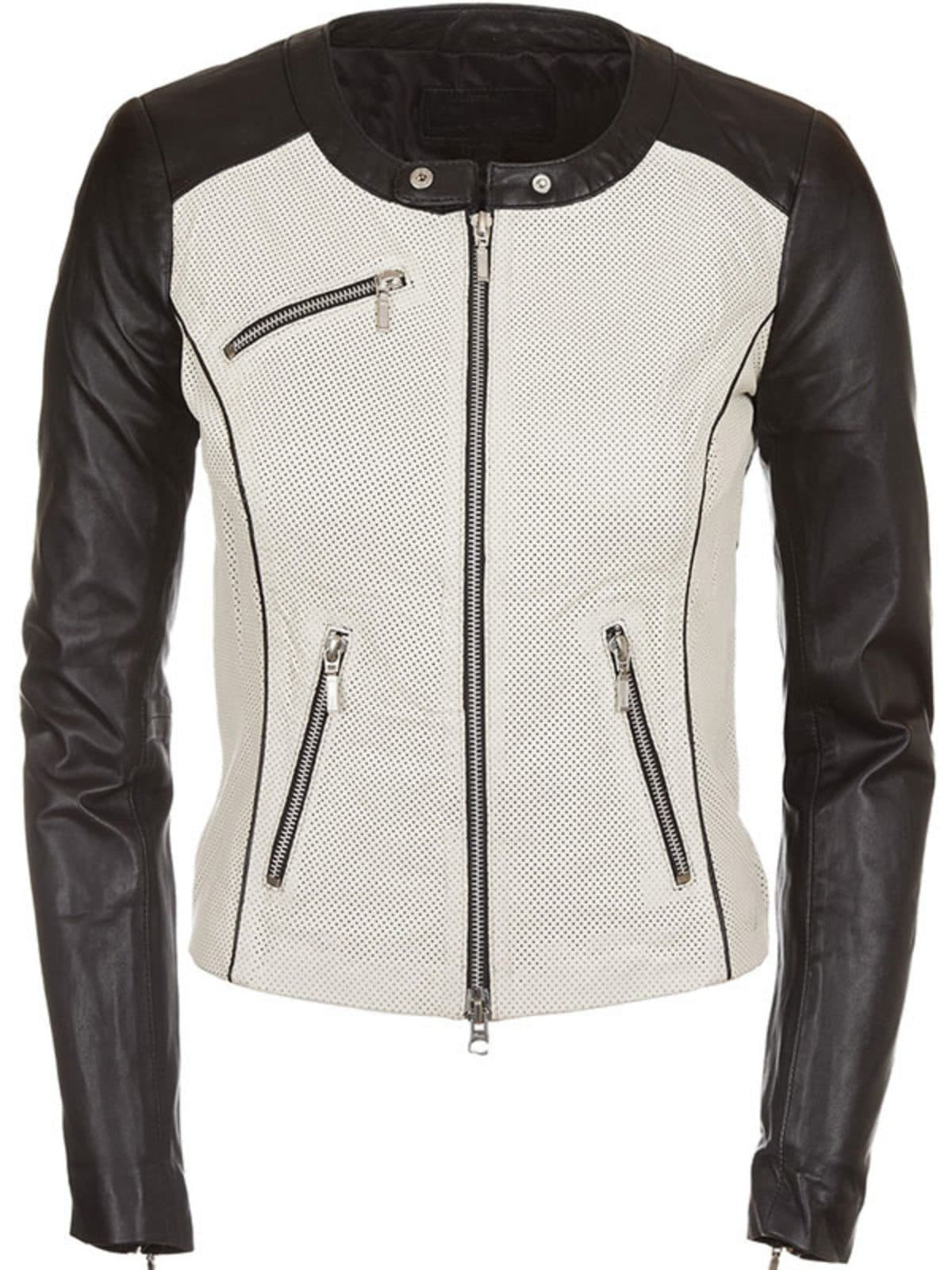 Womens Fashion Designer Leather Jacket Black and White 1