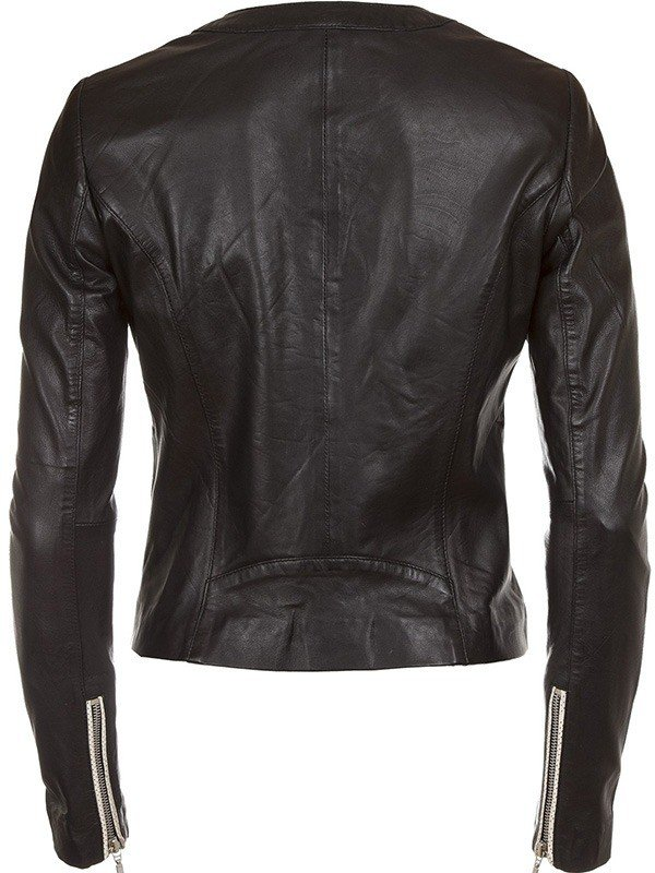 Womens Fashion Designer Leather Jacket Black and White