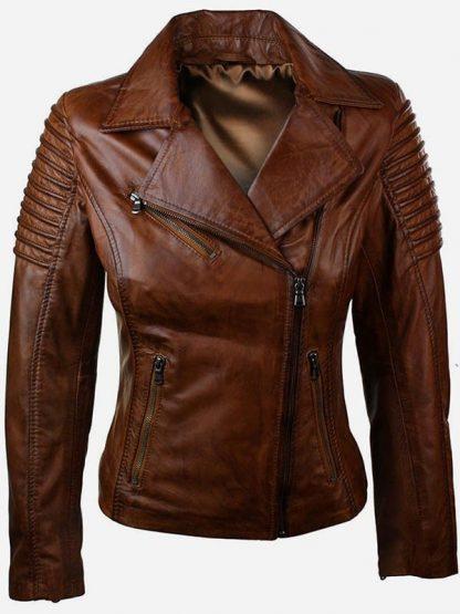 Womens Fashion Designer Leather Jacket Brown