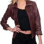 Womens Fashion Designer Leather Jacket Chocolate Brown 1