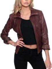 Womens Fashion Designer Leather Jacket Chocolate Brown 1