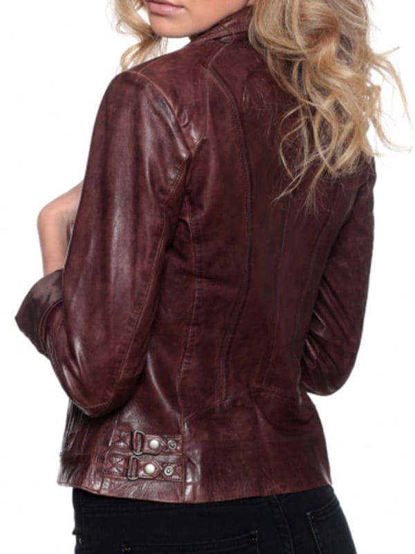 Womens Fashion Designer Leather Jacket Chocolate Brown 2