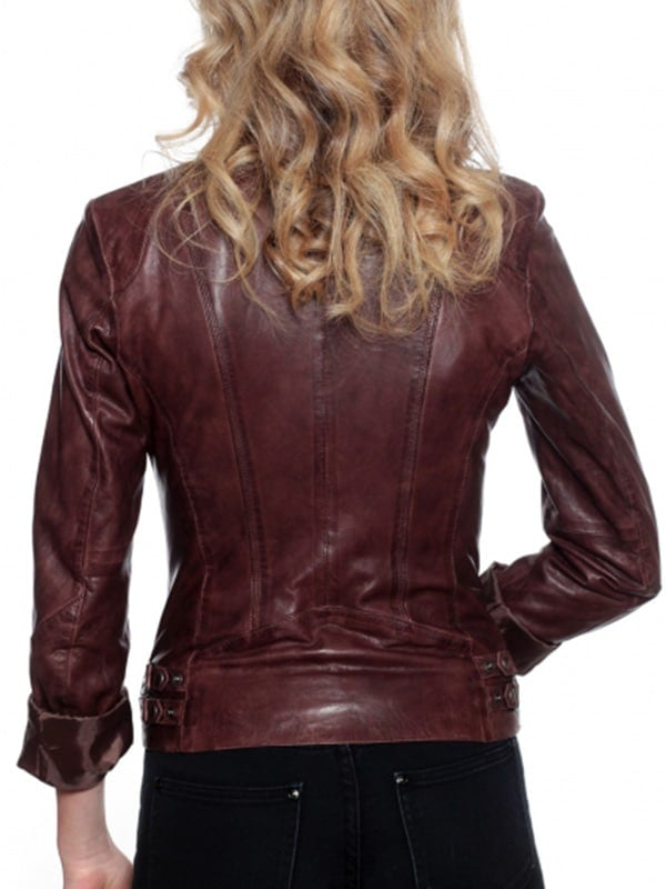 Womens Fashion Designer Leather Jacket Chocolate Brown 3