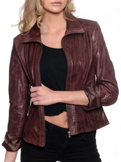 Womens Fashion Designer Leather Jacket Chocolate Brown