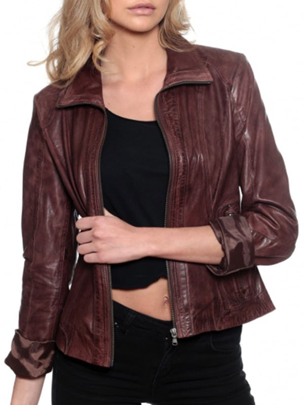 Womens Fashion Designer Leather Jacket Chocolate Brown