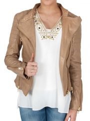 Womens Fashion Designer Leather Jacket Cross Zip Camel 1