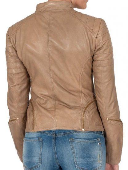 Womens Fashion Designer Leather Jacket Cross Zip Camel 2