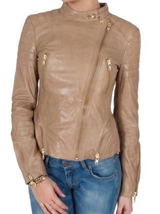 Womens Fashion Designer Leather Jacket Cross Zip Camel