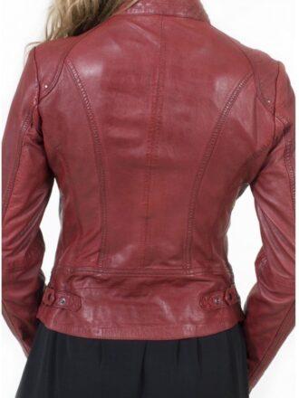 Womens Fashion Designer Leather Jacket Red Maroon 1
