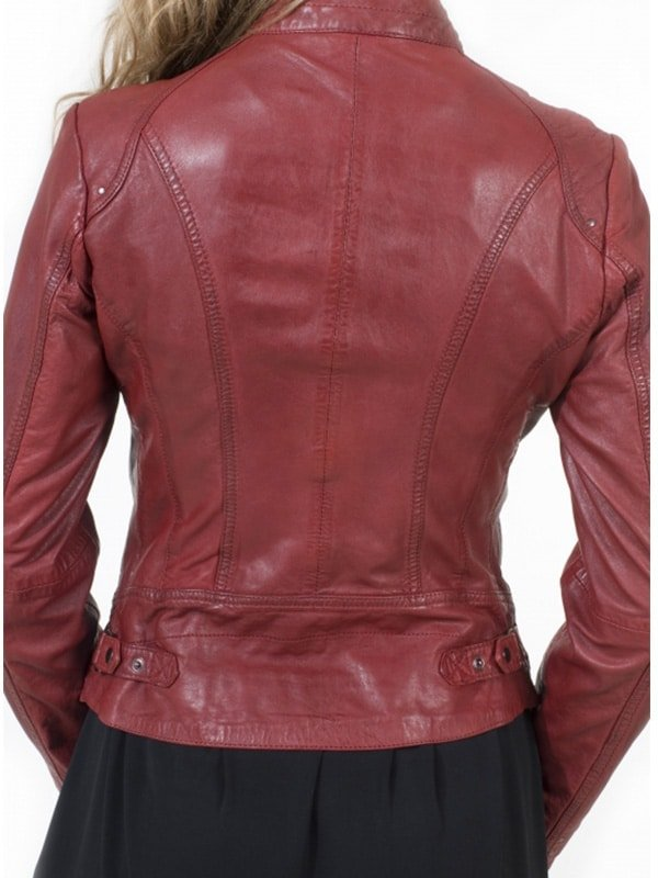 Womens Fashion Designer Leather Jacket Red Maroon 1