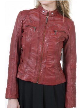 Womens Fashion Designer Leather Jacket Red Maroon