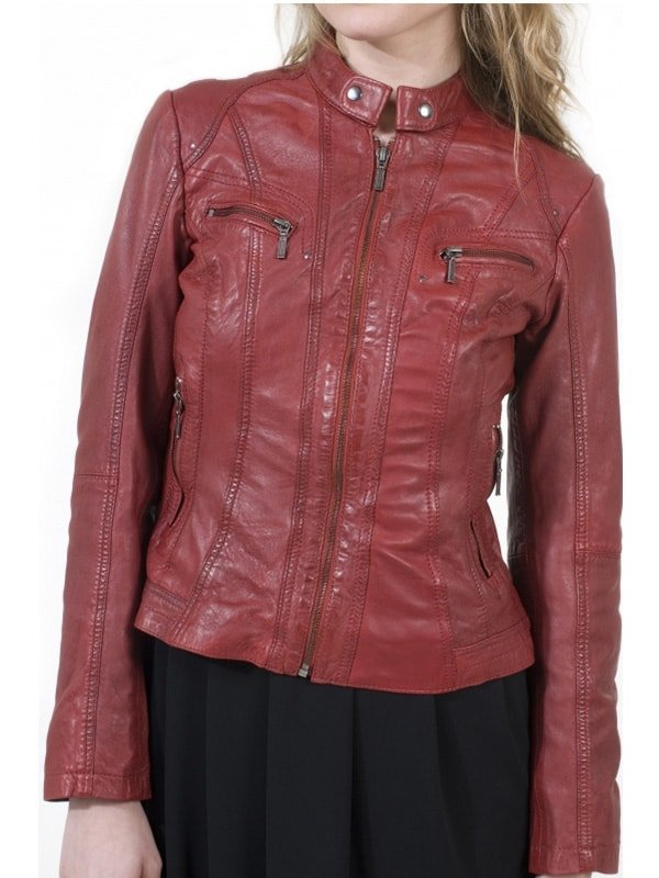 Womens Fashion Designer Leather Jacket Red Maroon