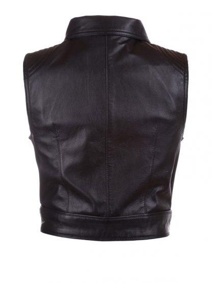 Womens Fashion Designer Leather Motorcyle Vest Black 01