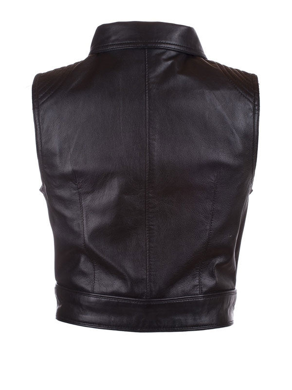 Womens Fashion Designer Leather Motorcyle Vest Black 01