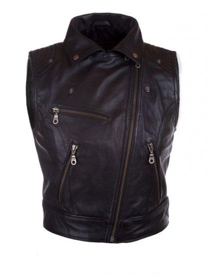 Womens Fashion Designer Leather Motorcyle Vest Black 02