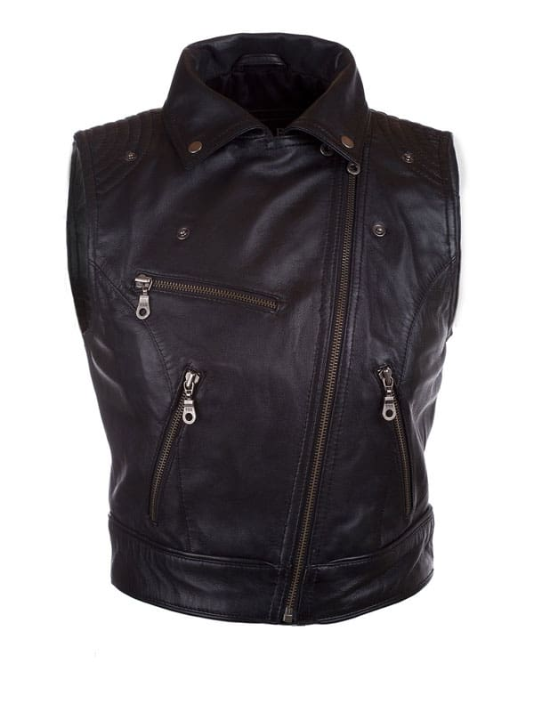 Womens Fashion Designer Leather Motorcyle Vest Black 02