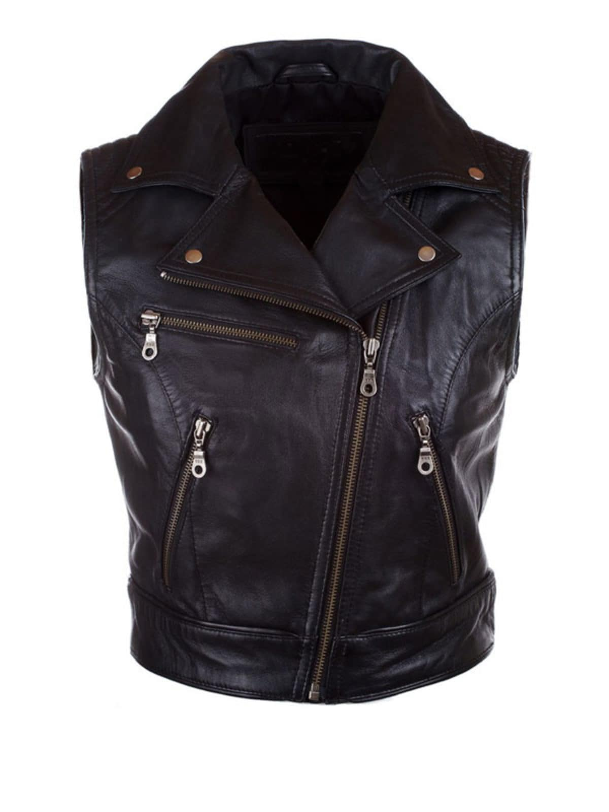 Womens Fashion Designer Leather Motorcycle Vest Black