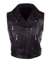Womens Fashion Designer Leather Motorcycle Vest Black