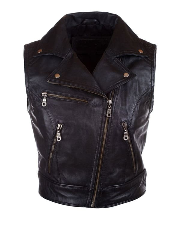 Womens Fashion Designer Leather Motorcyle Vest Black