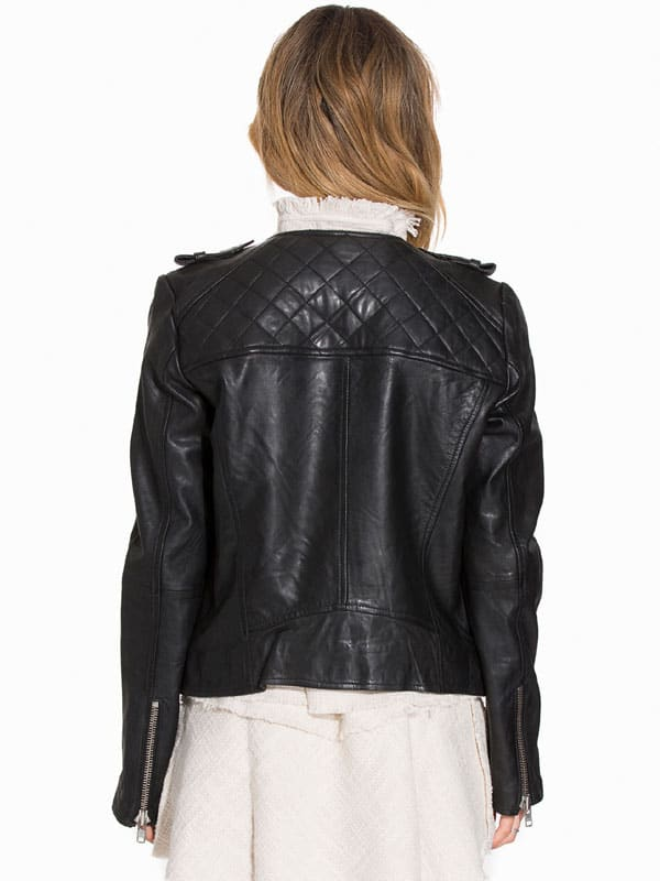 Womens Fashion Designer Quilted Leather Jacket Black 01
