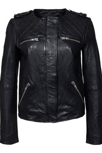 Womens Fashion Designer Quilted Leather Jacket Black 02