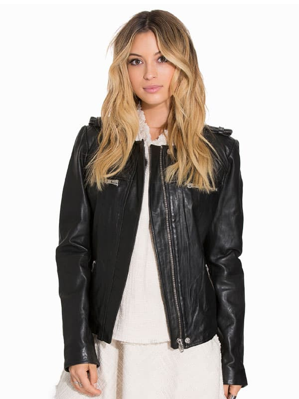 Womens Fashion Designer Quilted Leather Jacket Black
