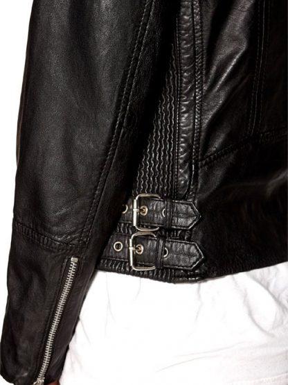 Womens Fashion Designer Real Leather Jacket Black 03