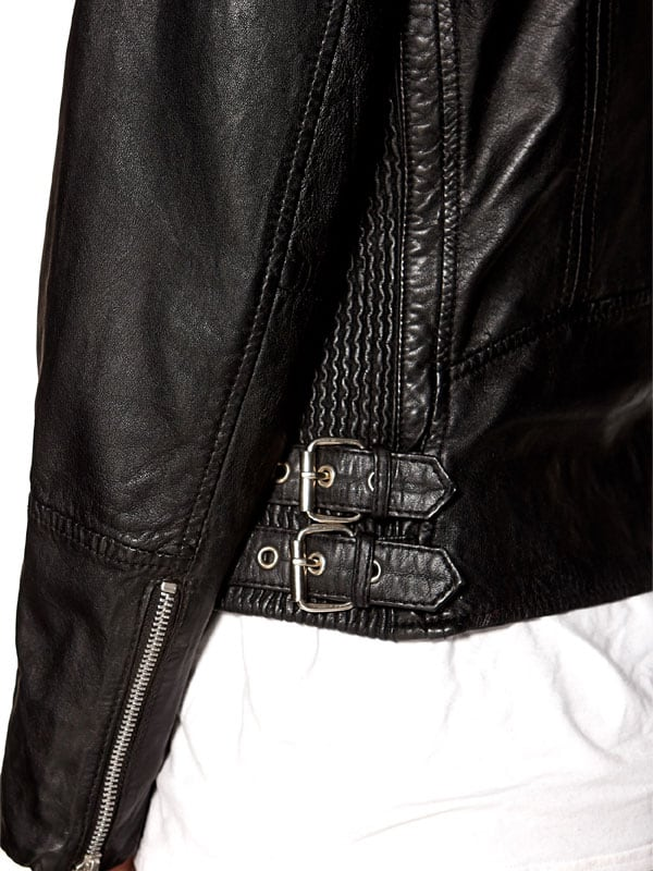 Womens Fashion Designer Real Leather Jacket Black 03