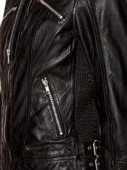 Womens Fashion Designer Real Leather Jacket Black 04