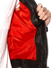 Womens Fashion Designer Real Leather Jacket Black 05