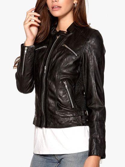 Womens Fashion Designer Real Leather Jacket Black 06