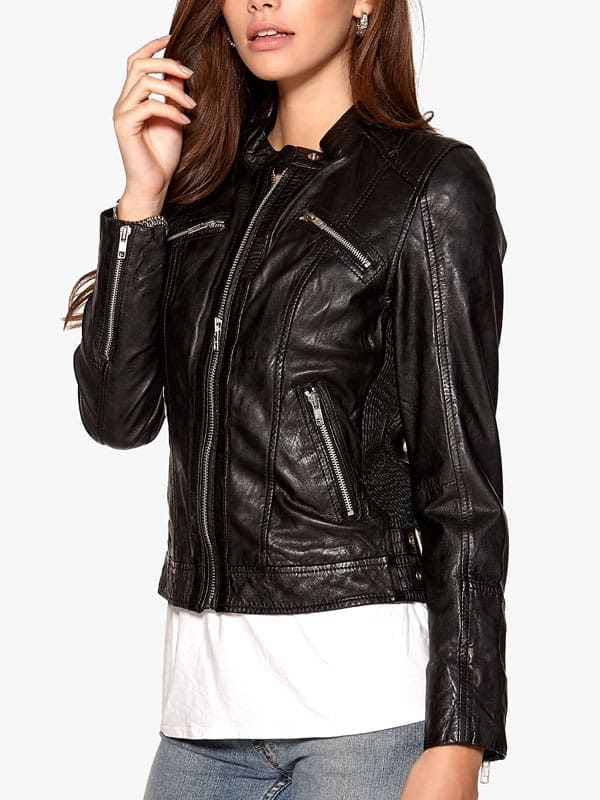 Womens Fashion Designer Real Leather Jacket Black 06
