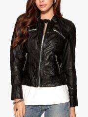 Womens Fashion Designer Real Leather Jacket Black