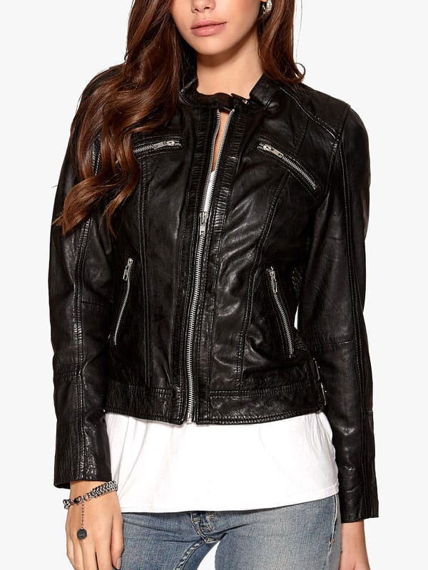 Womens Fashion Designer Real Leather Jacket Black