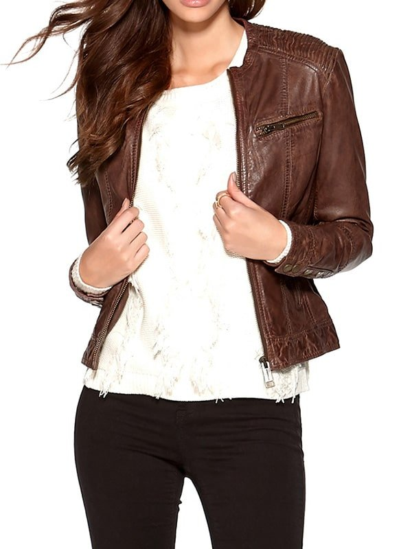 Womens Fashion Designer Waxed Leather Jacket Brown 1