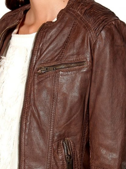 Womens Fashion Designer Waxed Leather Jacket Brown 2