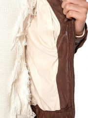 Womens Fashion Designer Waxed Leather Jacket Brown 3