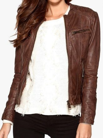 Womens Fashion Designer Waxed Leather Jacket Brown